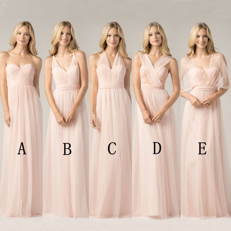 2016 Convertible Bridesmaid Dresses Blush Pink Custom Made Fashion A Line  Formal Plus Size Junior Bridesmaids Gowns Floor Length-in Bridesmaid Dresses  from ... 839fe8f06758