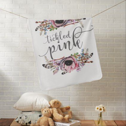 #rustic - #Tickled Pink | Boho Chic Floral Wreath Baby Girl Baby Blanket