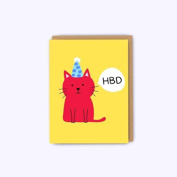 Funny cat birthday card cat card funny boyfriend birthday card girlfriend birthday card friend birthday greeting card bff card cardsbff