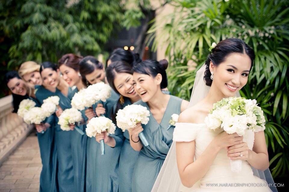 Beautiful blue bridemaids