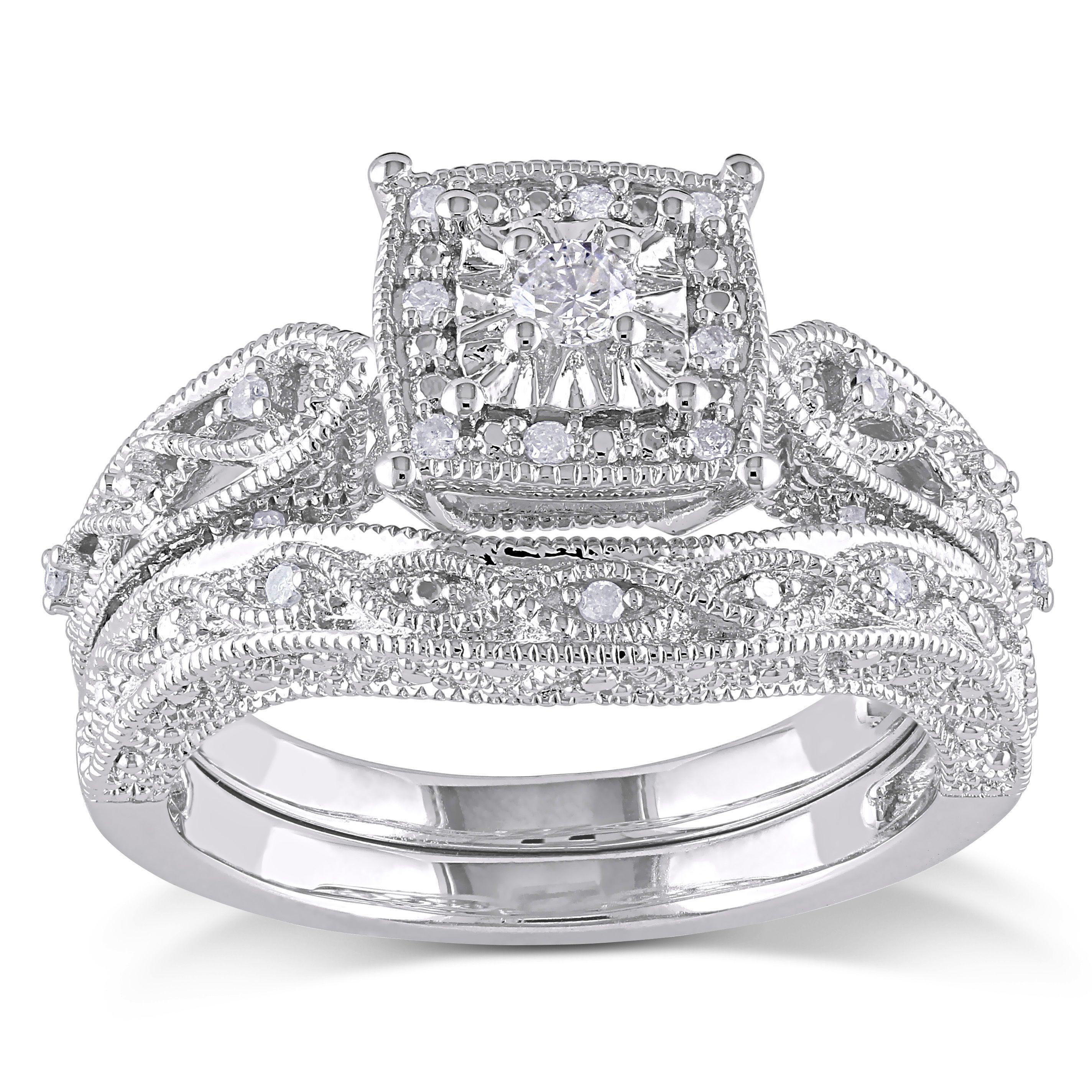 Miadora Sterling Silver TDW Diamond Bridal Ring Set H I