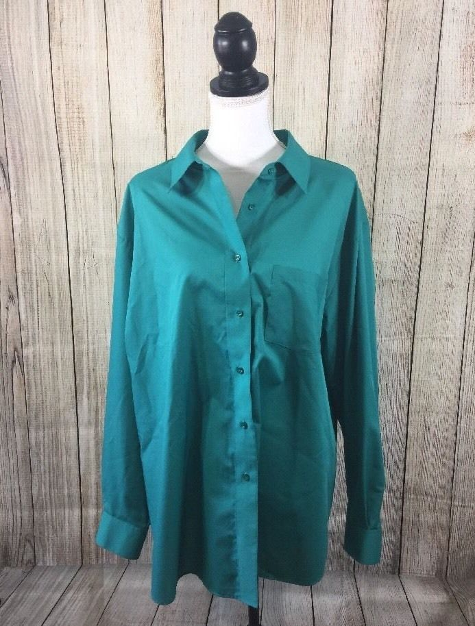 Foxcroft Size 22W Women's Green Button Down Blouse Wrinkle Free Classic Fit Top  | eBay