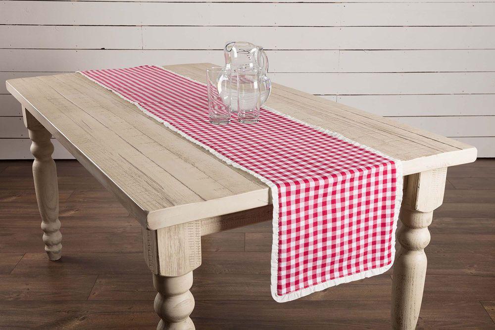 Table Runner Table Linens Rustic Decor Barn Wedding Buffalo Plaid Tablecloth Modern Farmhouse Decor Red 72 Inch