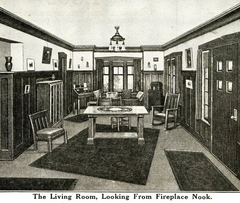 Interior view of sears ashmore craftsman living rooms for Victorian style kit homes