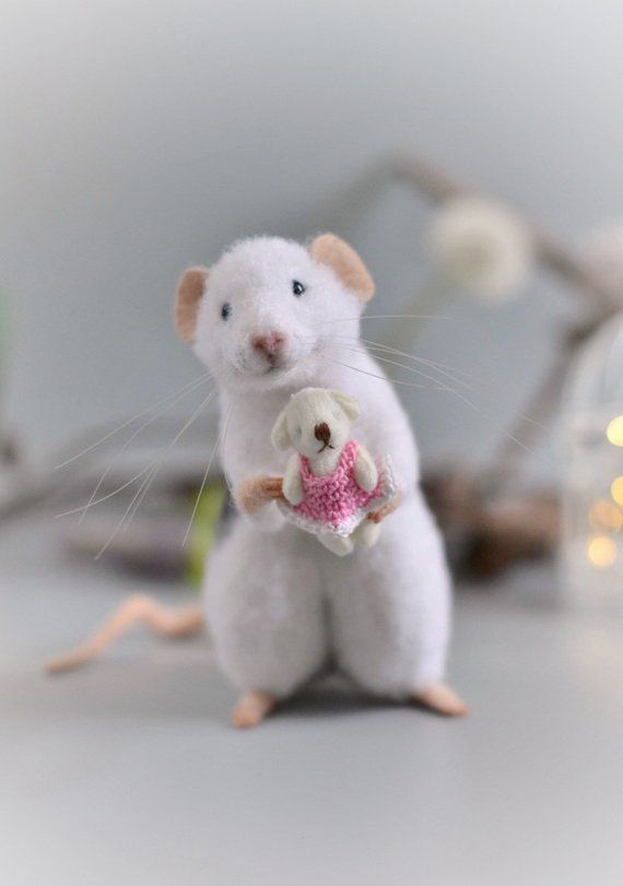 Realistic rat needle felted mouse Needle felt animals wool felted