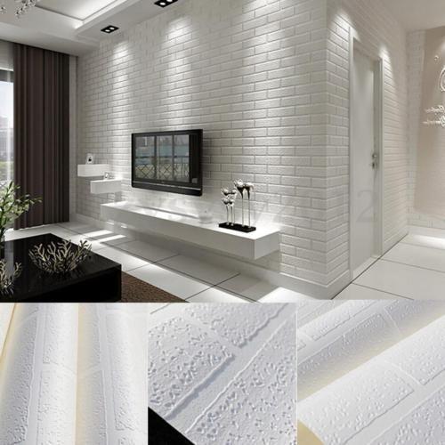 Bright 3d Pure Textured White Brick Stone Wallpaper Roll Contact Paper 10x0 53m Brick Patterns Stone Wallpaper White Brick
