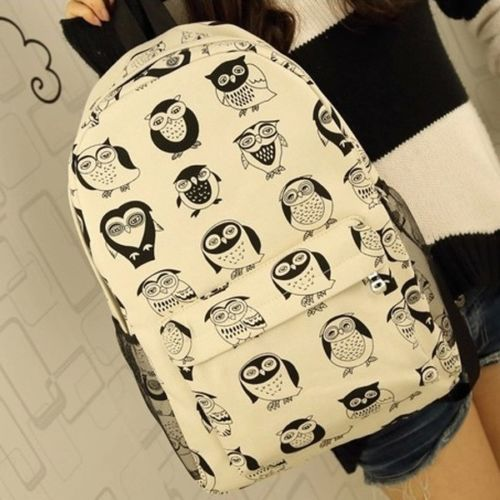 Fashion-Cute-Womens-Cartoon-Canvas-Travel-Satchel-Bookbag-Rucksack-Backpack