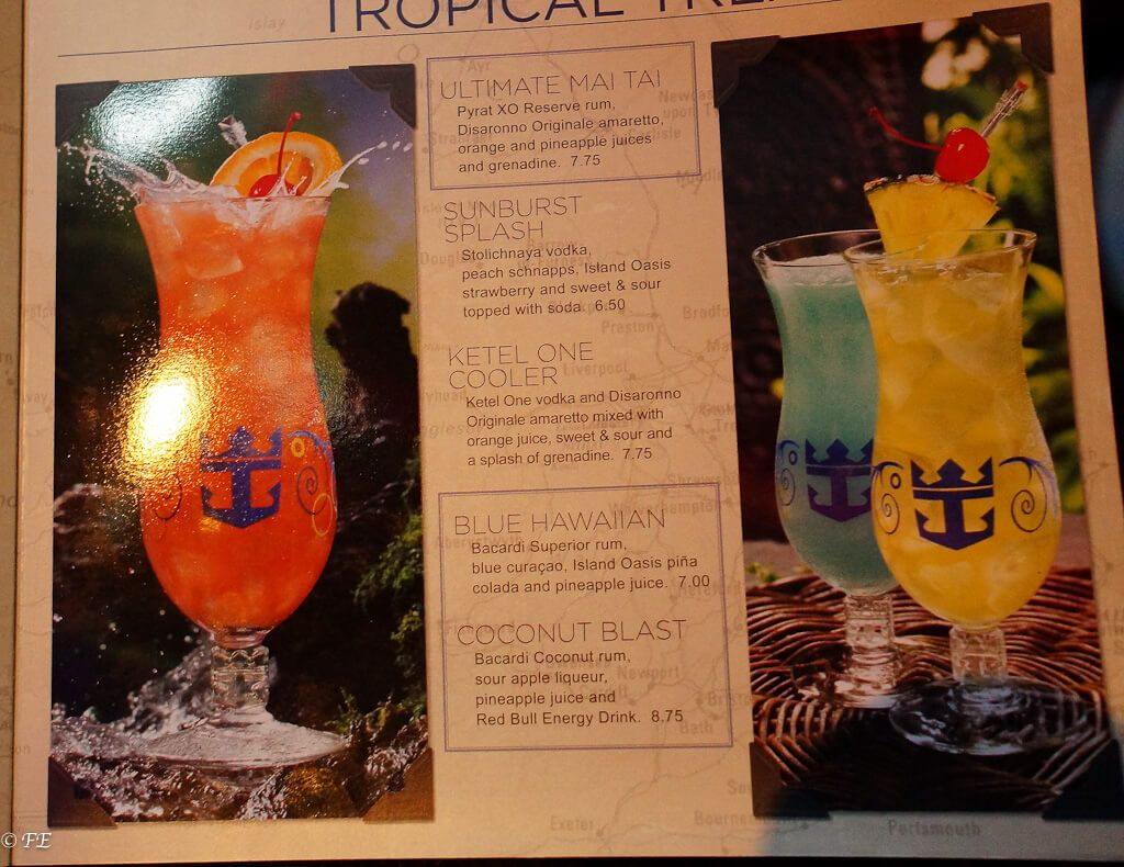 Royal Caribbean drink Lists! Prices, menus, and much more