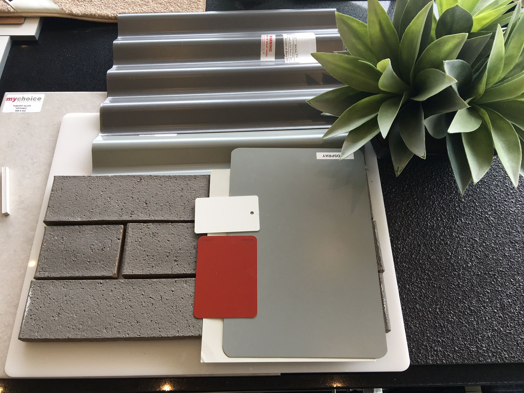 Colorbond roofing colours pictures to pin on pinterest - Ironstone Colorbond Roof Grey Pebble Cladding Sand Dune Brick Moodboardsandcolourtrends Roofing Roofingcolours Pinterest Bricks Roof Colors And