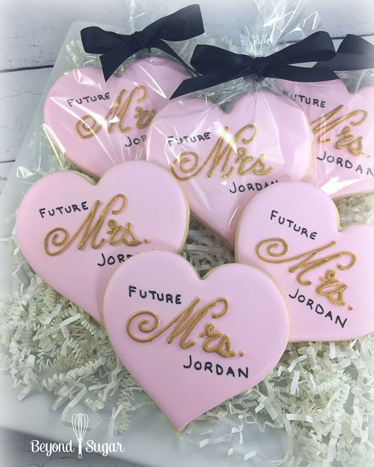 games to play at couples wedding shower%0A Bridal shower cookies   Future Mrs    Decorated Heart Cookies