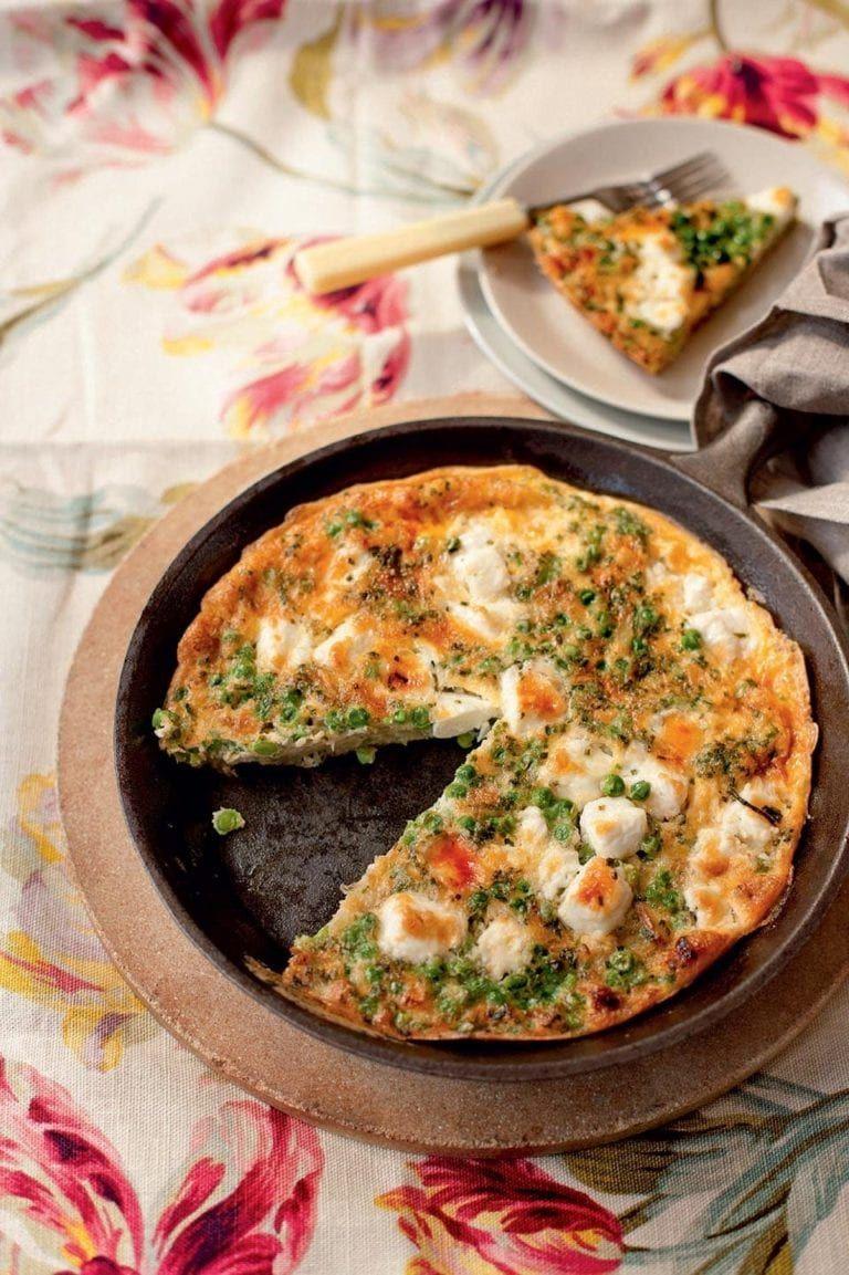 Feta and pea tortilla recipe delicious. magazine