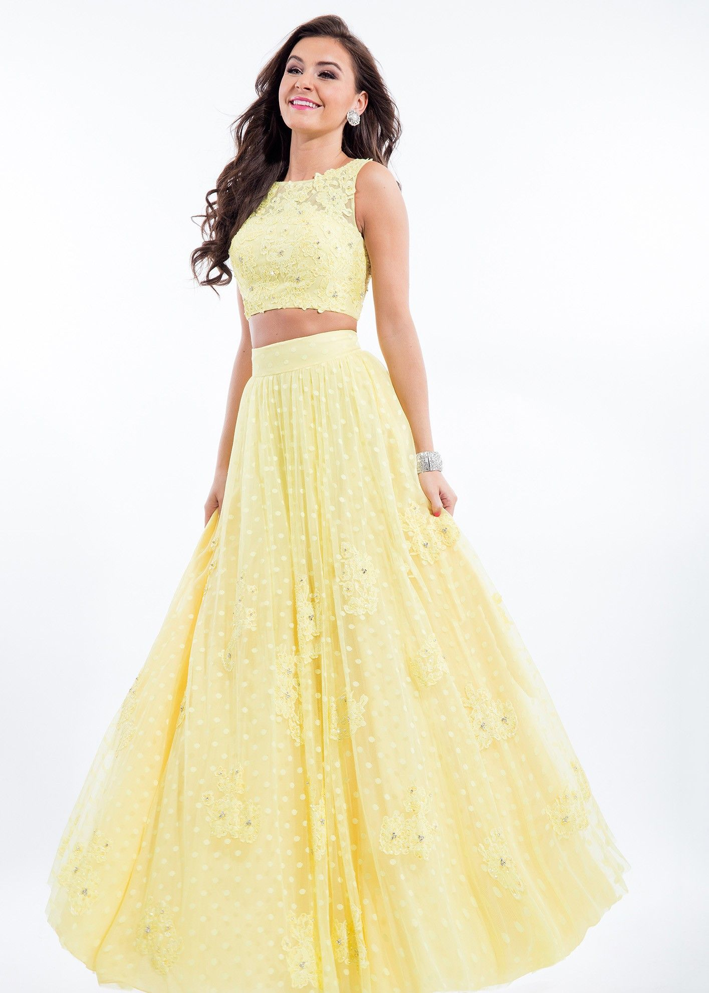 42a9043f82b Rachel Allan 7113 Yellow Sleeveless Two Piece Illusion Gown