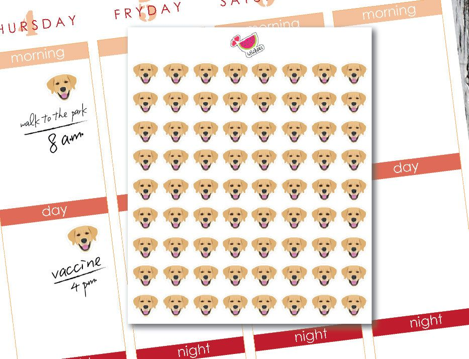 Planner Sticker dog face (Golden Retriever), Perfect for Erin Condren Planner, Plum Paper Planner, Filofax,Kikkik and more. de SandiaDesignShop en Etsy