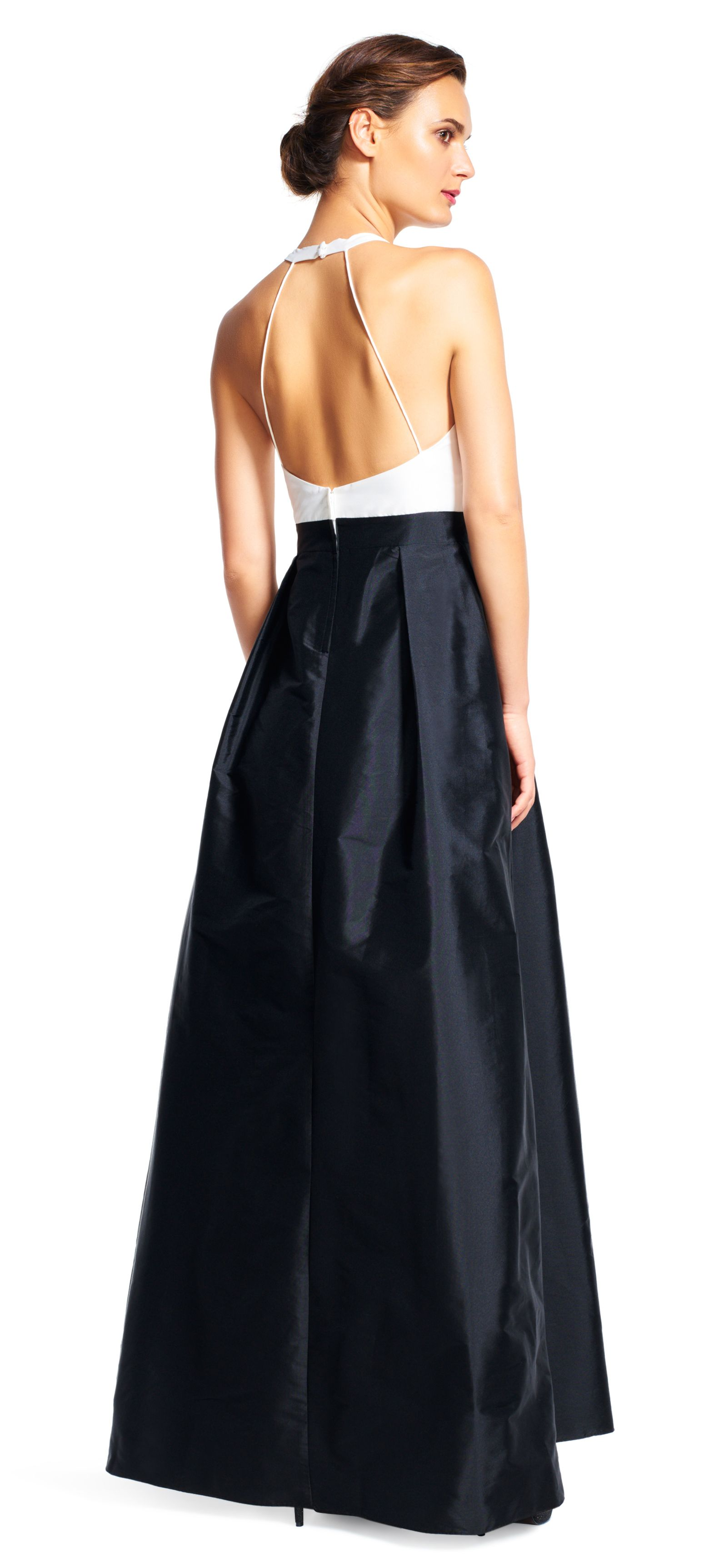 ab56230808 adrianna papell colorblock halter ball gown with open back