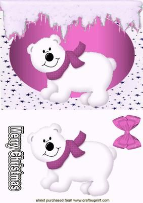 LITTLE WHITE BEAR WITH PINK SCARF on Craftsuprint - Add To Basket!