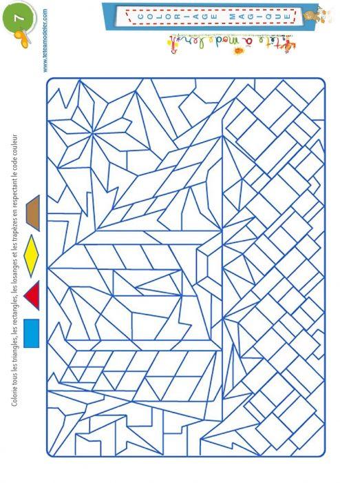 Coloriage magique 7 les trap zes et autres formes t te - Coloriage des formes ...