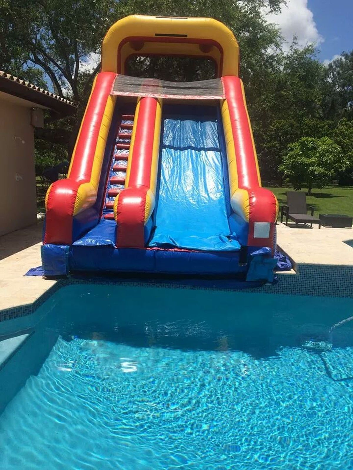 17 Feet High Slide Into The Pool House Pool Party Pool Floats Swimming Pool House
