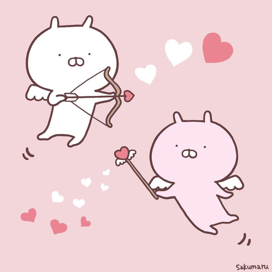 Sakumaru うさまる On Instagram 飛べるようになったうさまるうさこはバレンタインデーのお手伝いをすることになったのでした うさまる うさこ Usamaru バレンタイン うさまる イラスト うさまる かわいい 壁紙 Iphone