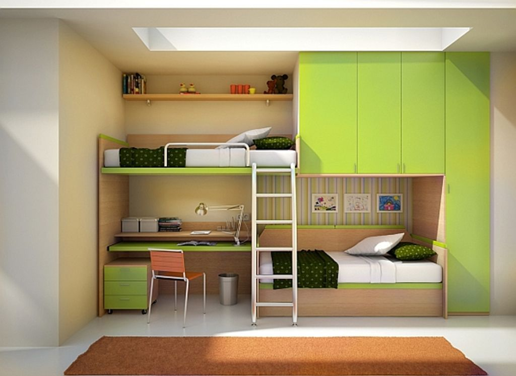 green theme on kids bedroom design ideas with built in desk bunk rh pinterest com