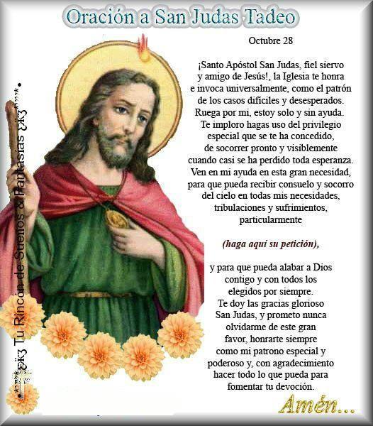 San Judas Tadeo, Oración para que nunca nos falte trabajo. | Brenda ...