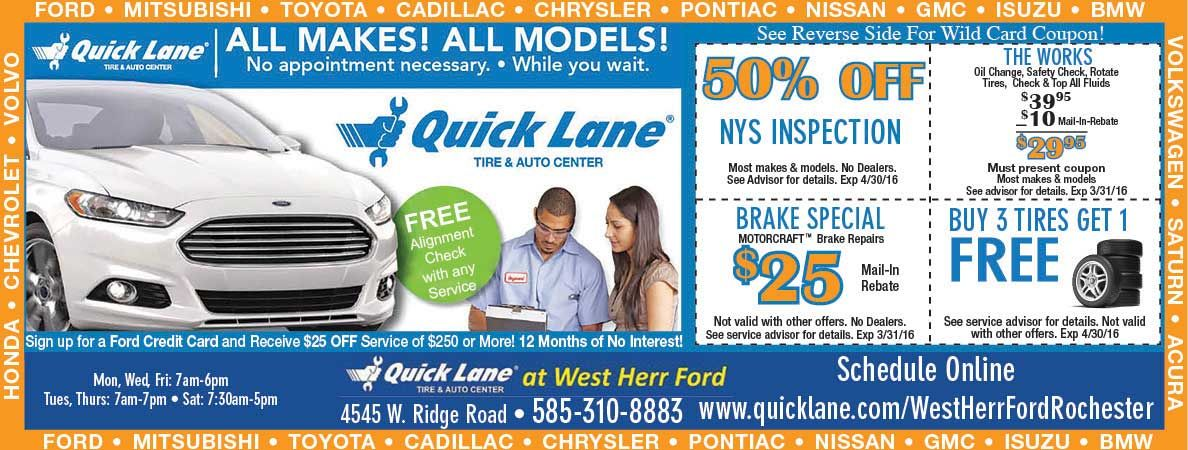 Quick Lane at Van Bortel will help you save on your tires