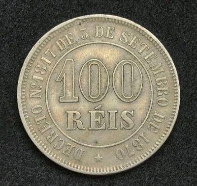 Brazil 100 Reis Coin, Emperor Pedro II of Brazil or Dom Pedro de Alcântara, mint date 1878.