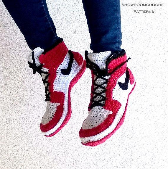 Crochet PATTERN. Air Jordans style slippers Adult sizes | Air ...