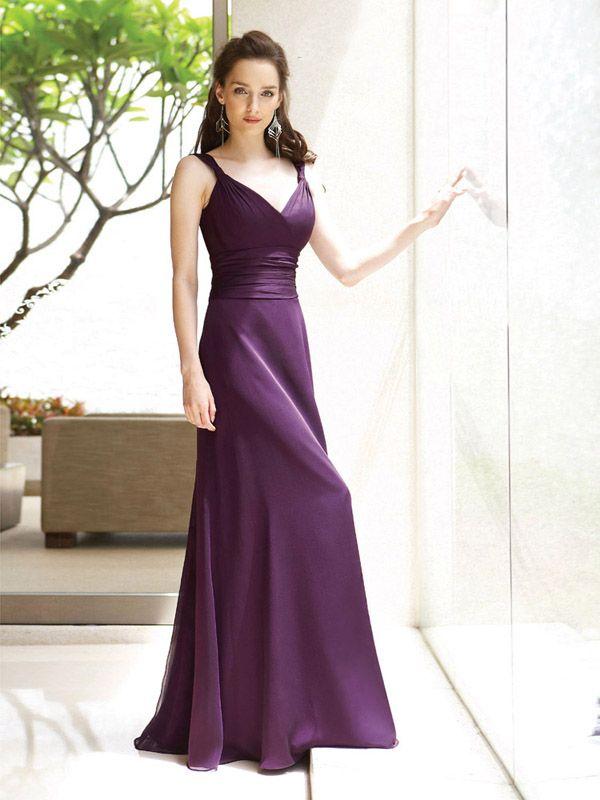 chiffon bridesmaid dress,long prom dress, purple bridesmaid dress ...