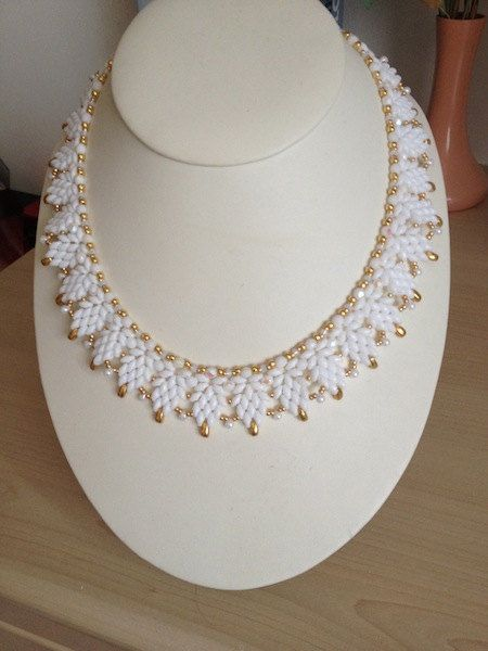 Cool Summer White SuperDuo Necklace by TwinklingGems on Etsy, £30.00