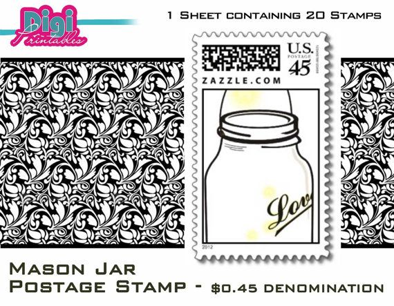 Mason Jar Postage Stamp  20 / Sheet by digiprintables, www.DigiPrintables.Etsy.com OR http://www.zazzle.com/digifoto/mason+jar+stamps