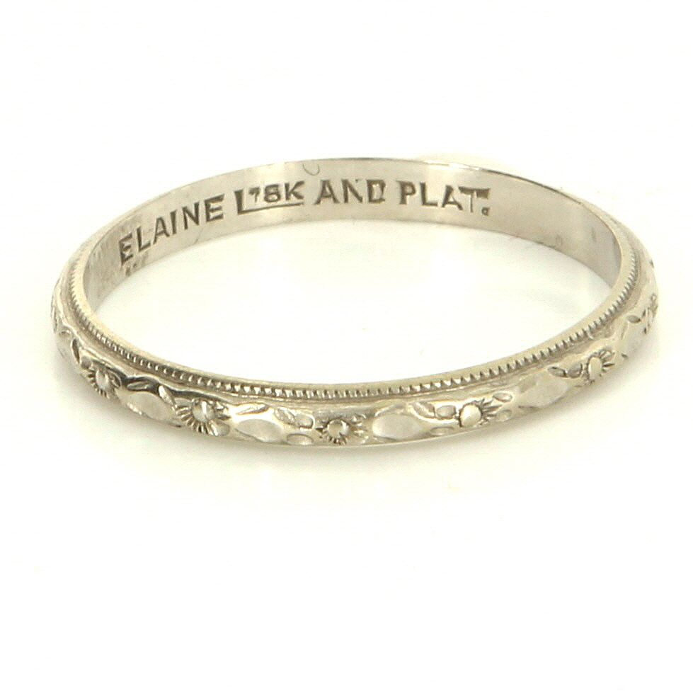 Vintage Art Deco 18 Karat White Gold Platinum Embossed Flower Wedding Band Ring Wrong Size But Nice Carving: Gold And Silver Embossed Wedding Bands At Reisefeber.org