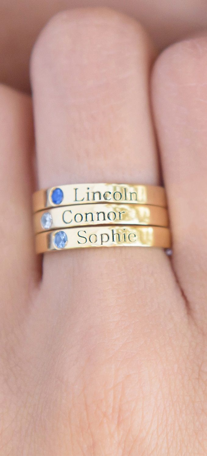 Stack them high.. Stackable name rings with birthstones in Silver ...