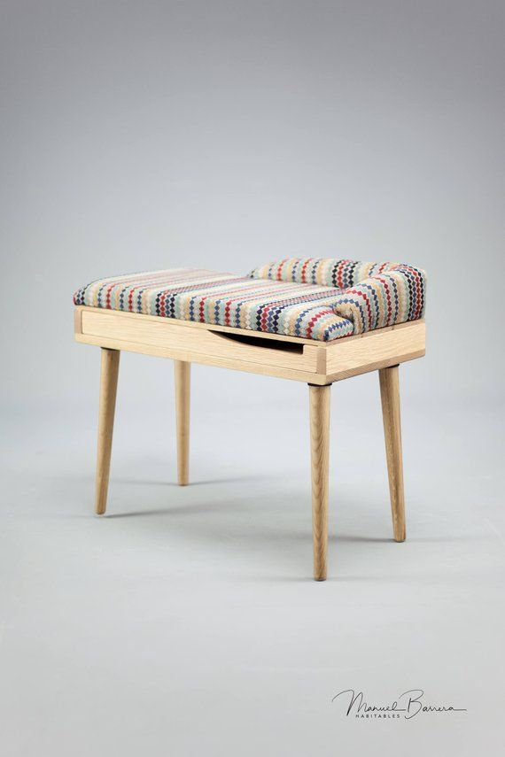 Upholstered Bench Stool Seat Ottoman In Oak Walnut