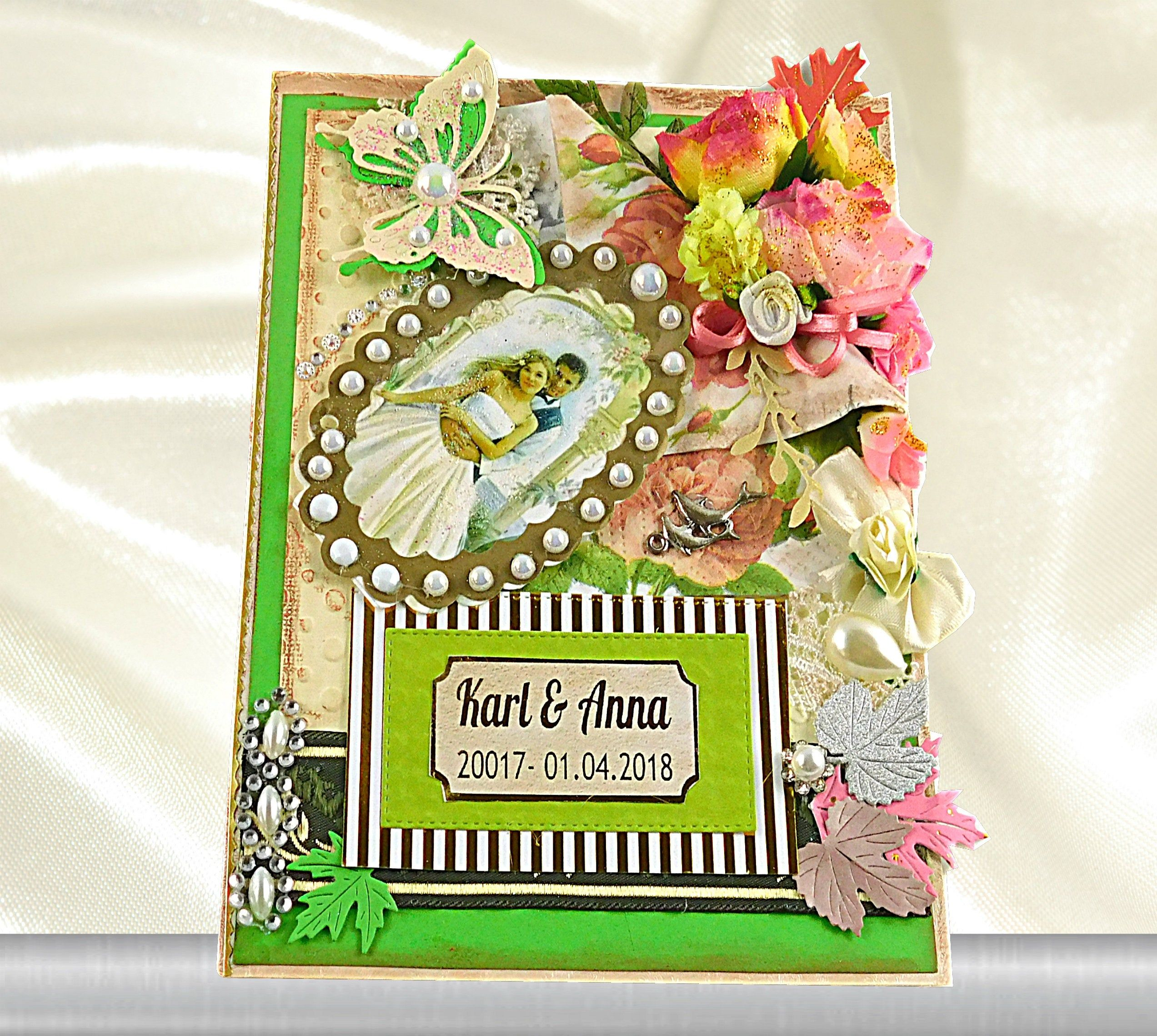 1st anniversary card. Green anniversary card for couple