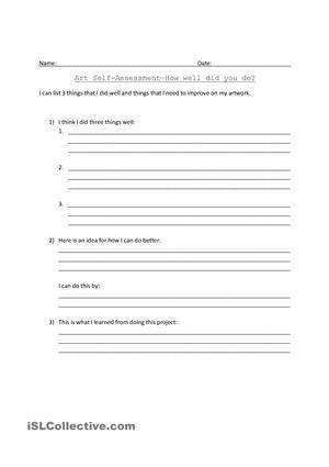 Art Self Assessment  Assessments    Worksheets