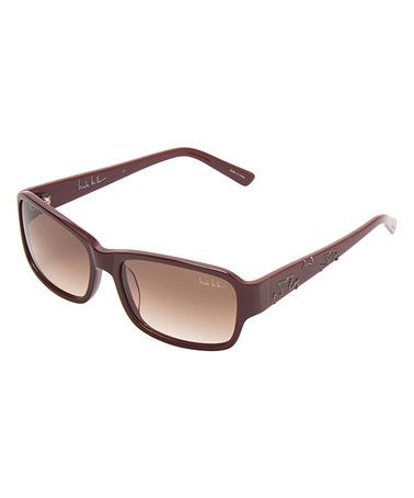 Another great find on #zulily! Burgundy Gradient Semi-Rectangular Thompson Sunglasses by Nicole Miller New York #zulilyfinds