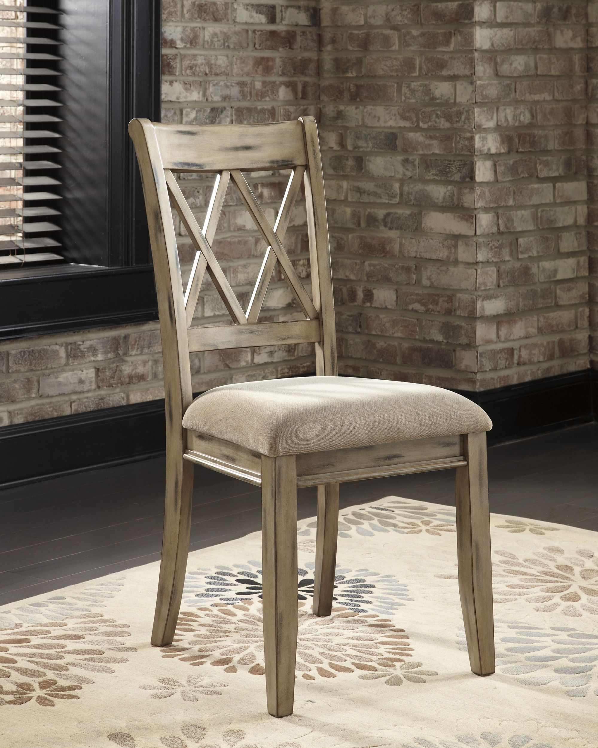D540 102 Signature By Ashley Mestler Upholstered Side Chair Antique White Sandy Supers