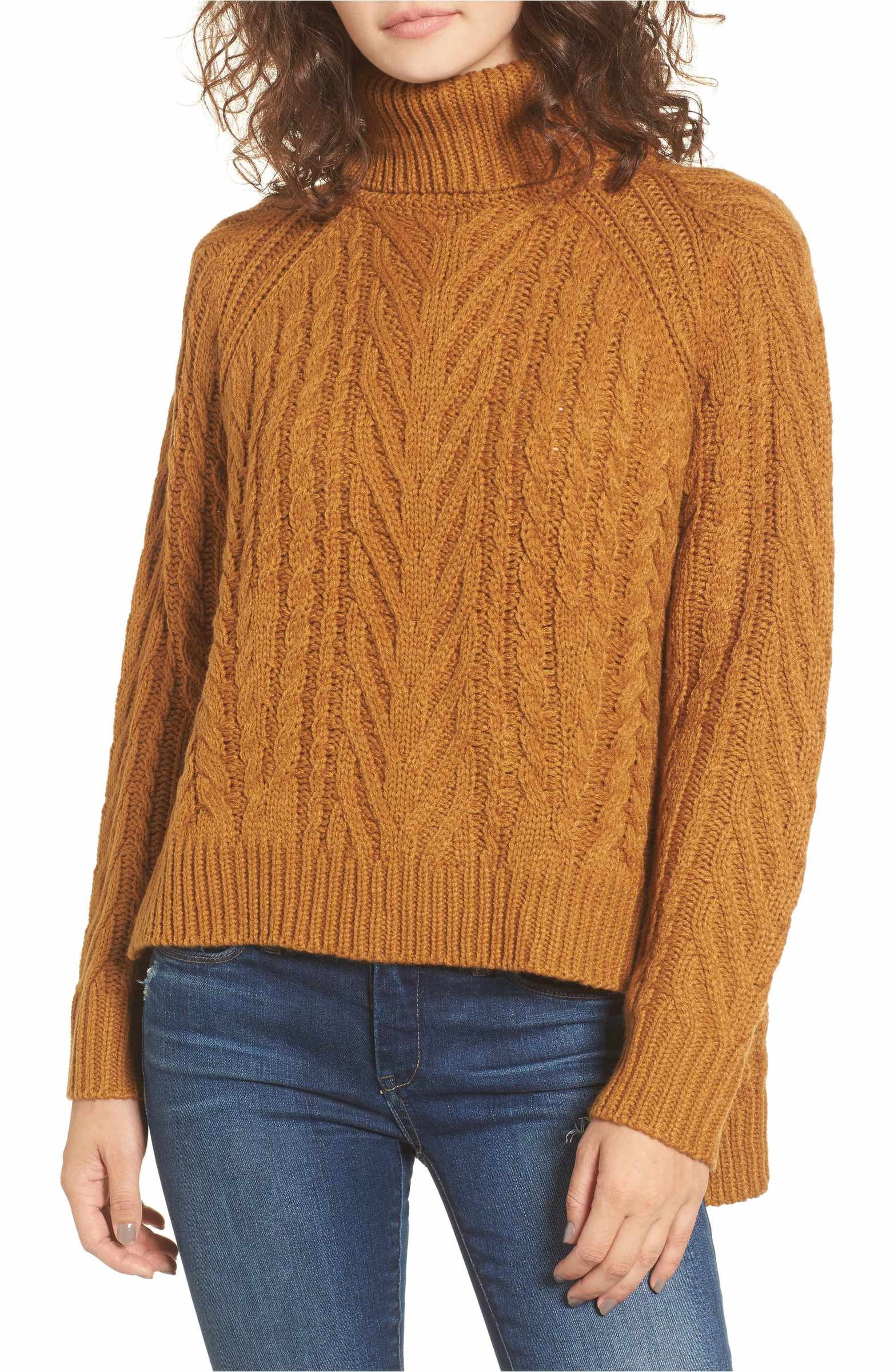 40ae72fd2f Main Image - Dreamers by Debut Cable Knit Turtleneck Sweater