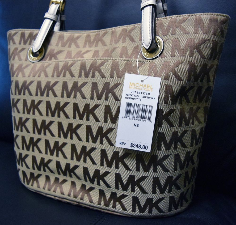 7566f485d28264 New with Tag - Michael Kors MK Signature Hand Bag JET Set - Retail Price  $248 #MichaelKors #TotesShoppers