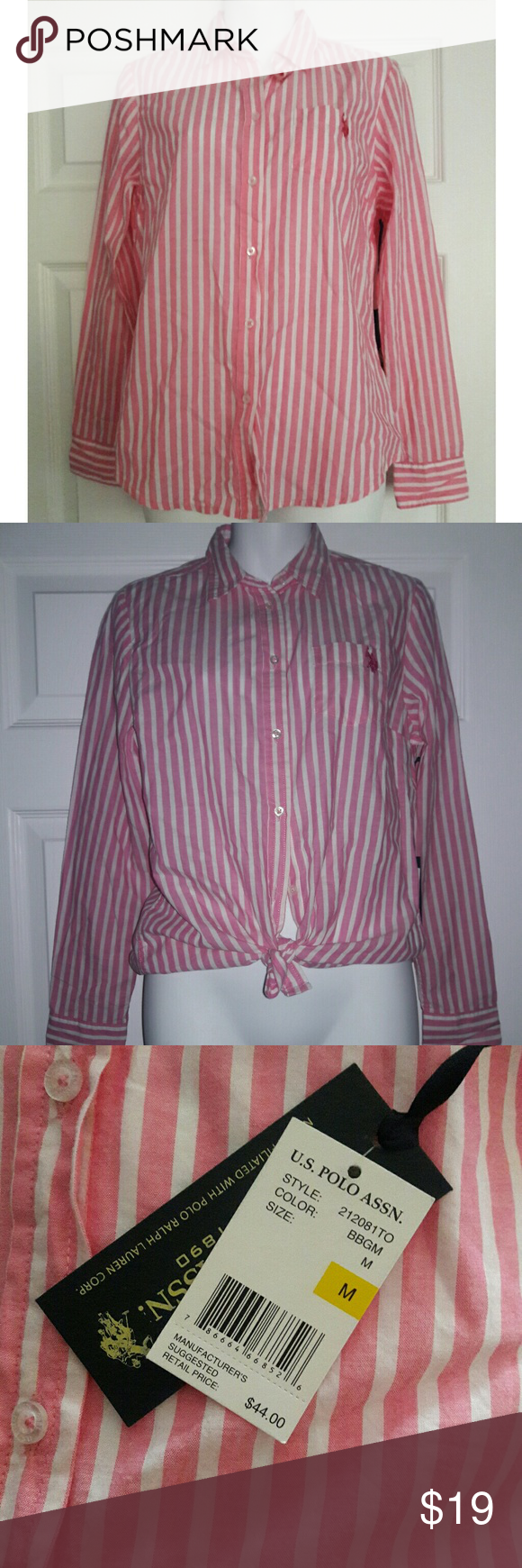 U.S. Polo Assn. Button down NWT medium Pink and white stripes Wear it different ways!  Can be tied at the bottom corners for an 80's look U.S. Polo Assn. Tops Button Down Shirts