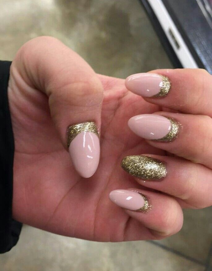 Acrylic almond shape nude pink nails with gold glitter nails acrylic almond shape nude pink nails with gold glitter prinsesfo Images