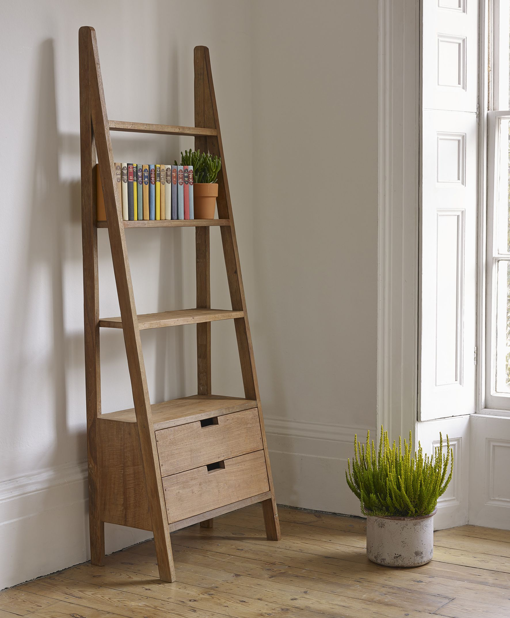 Sumatra Teak Ladder Bookcase With Drawers In 2019 Sumatra Collection Lombok Ladder Bookshelf Ladder Bookcase Bookcase With Drawers
