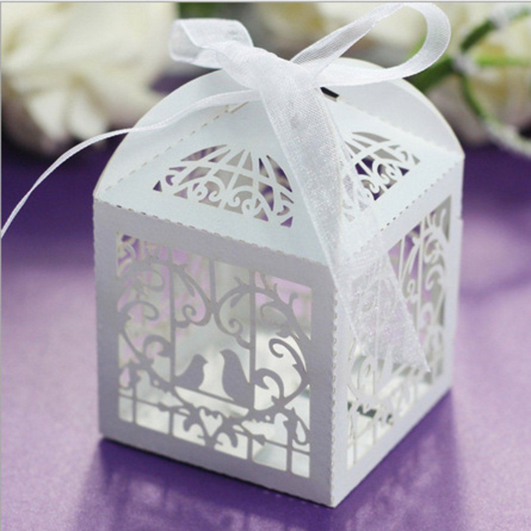 Coofit 50pcs/Pack Candy Box Laser Cut Hollow-Out Love Bird Wedding ...
