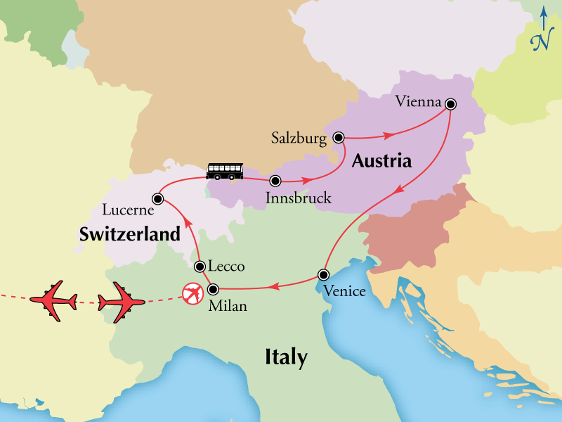 Map Of Italy And Switzerland.13 Day Northern Italy Switzerland Austria Italy Tour Travel