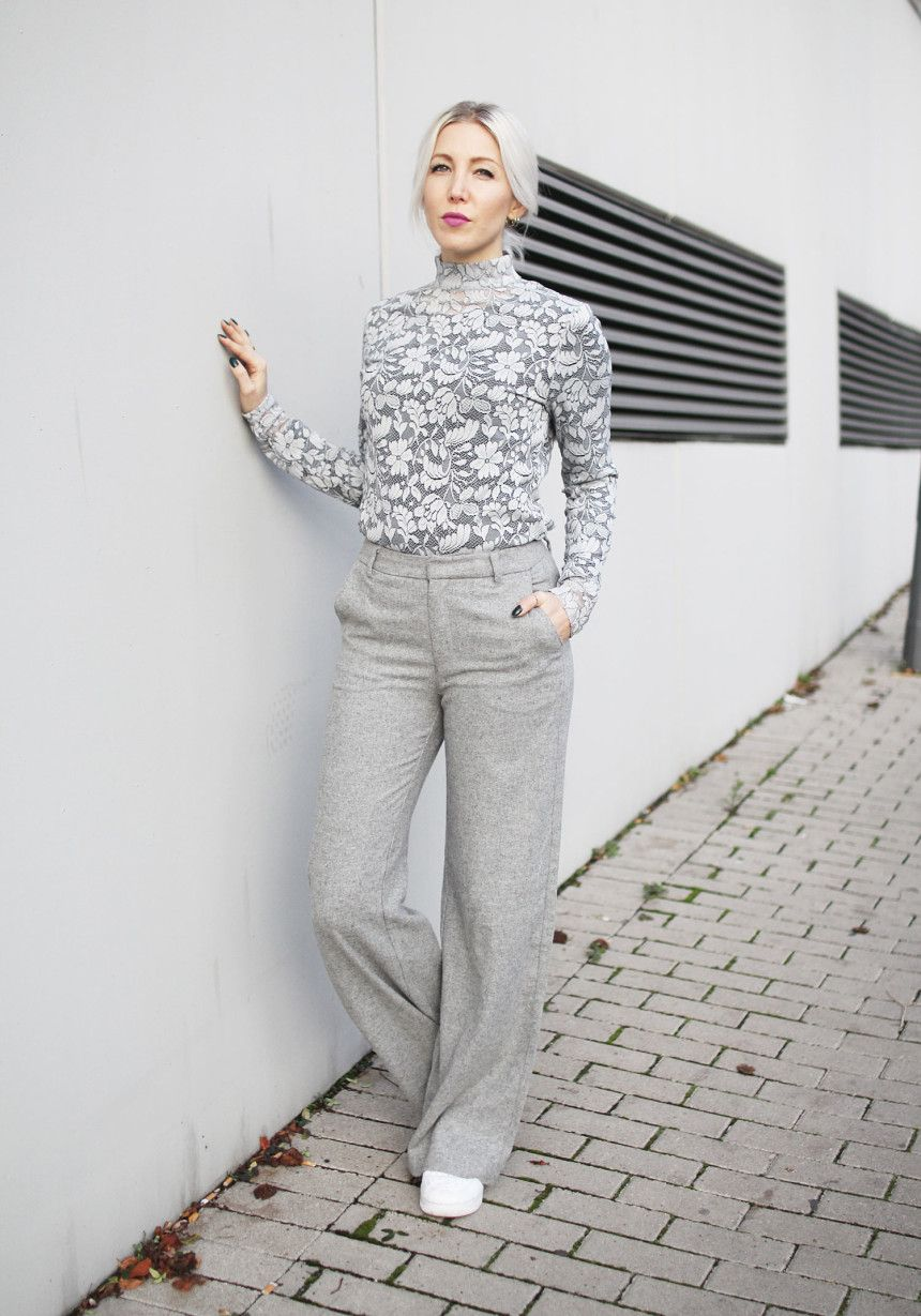 Grey, Lace, Spitze, Turtleneck, Look, wide Legs, wide Pants, H&M, minimal, Sneaker, Nike, Urban Decay, Minus, ootd, lotd, Look, Outfit, Streetstyle, Fall, Trend, Fashion, Blog, stryleTZ