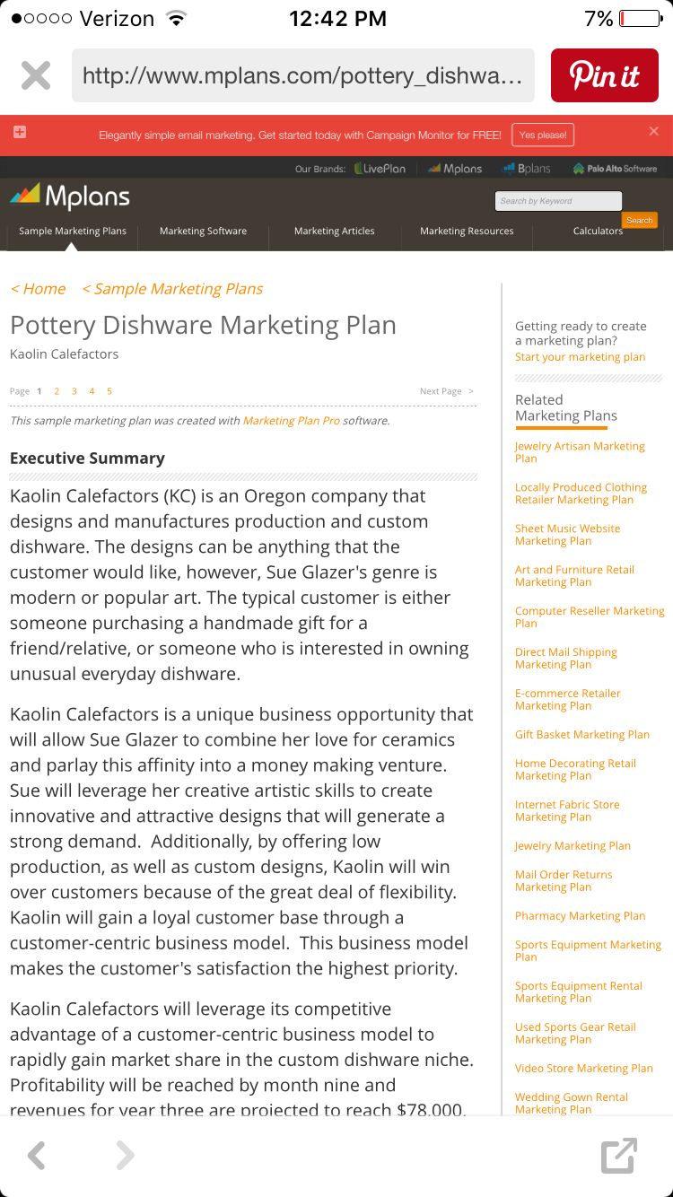 Homemade dishes pottery business plan How to plan
