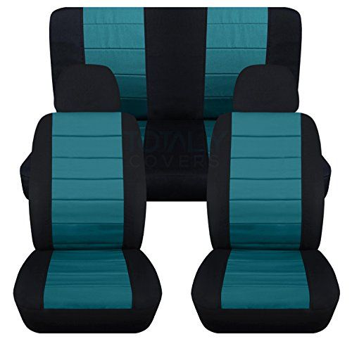 2tone Car Seat Covers W 2 Front Headrest Covers Black And Teal Universal Fit Full Set Front Buckets Rear Be With Images Jeep Wrangler Seat Covers Purple Jeep Blue Jeep