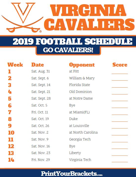 Uva 2019 Football Schedule Printable 2019 Virginia Cavaliers Football Schedule   Printable