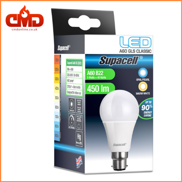 B22 Led Gls Standard Shape Bulb 5w 9w 12w And 15w Supacell Bayonet Bc Pack Of 12 Led Bulb Bulb Led