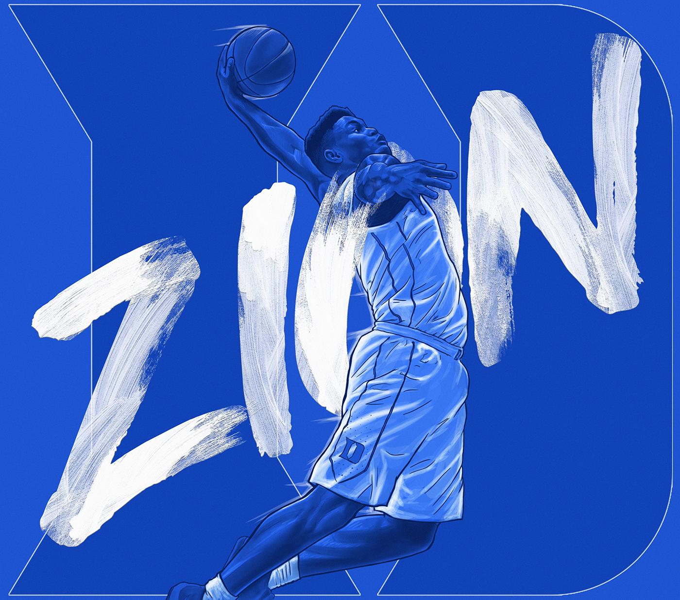 Zion Williamson Duke Illustration On Behance Deportes Baloncesto Fondos De Pantalla Basketball Basquet